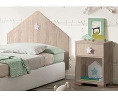 Mesita Noche Shine Dormitorio Infantil Color Roble 1 Cajon Estrella Blanca habitacion Juvenil 40x33x56