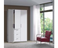 Fores - Armario 3 puertas ward, medidas 200 x 120 x 52 cm, color blanco brillo