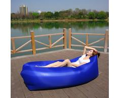 ONETWO Aire libre Sofá cama de aire,Portátil impermeable piel-amistosa Air lounger, Sofá inflable interior ocio playa camping -J 198x65cm(78x26inch)
