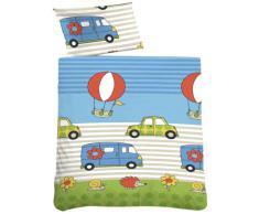 Biberna 27211/221/014 - Juego de sábanas para cama infantil, 100 cm x 135 cm, color azul