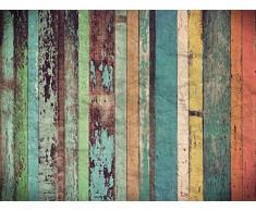 Cabecero Cama PVC Impresión Digital | Imitación Madera Multicolor Antigua 115 x 60 cm | Cabecero Original y Económico