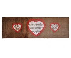Alfombrilla Lifestyle 3 Corazones, Alfombra Antideslizante y Lavable, Ideal para el Armario, la Cocina o el Dormitorio, 50 x 150 cm, marrón/Rojo