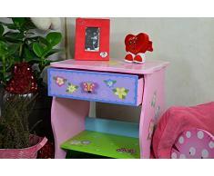 Antyki24 Childrens mesilla de Noche Mesa con Estante y cajón niños niñas Dormitorio - Guirnalda de Flores