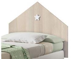 Miroytengo Conjunto Muebles Dormitorio Infantil Shine Cabezal Cama y Mesita Noche Color Roble Estrella Blanca