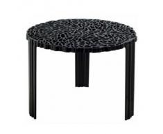 Kartell 8502NE T-Table - Mesa auxiliar redonda (tres patas), color negro