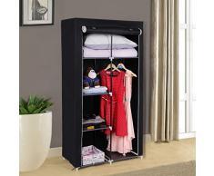 Songmics Armario plegable para ropa Ropero de metal y tela Resistente al polvo 88 x 45 x 170 cm Negro RYG84H