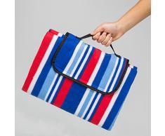TecTake Colchón manta de picnic viaje camping 200x150cm fondo hidrófugo enrollable azul rosso blanco