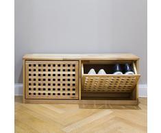 Relaxdays - Zapatero, madera de nogal, giratorio, basculante, 38 x 94 x 20 cm, color natural