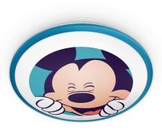 Philips Disney Mickey Mouse - Plafón, iluminación interior, luz blanca cálida, bombilla led de 7,5 W, plástico, color azul