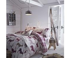 Catherine Lansfield - Sábana bajera para cama king size (150 x 200 cm + 25 cm, 100% algodón), diseño de ciervos de los montes Grampianos, color morado