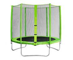 SixBros. SixJump 2,45 M Trampolín de jardín verde examinado por Intertek / GS | Red de seguridad - CST245/L1605