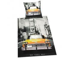 Herding 445960050 - Juego de funda nórdica de linón con diseño de taxi de Nueva York (80 x 80 cm + 135 x 200 cm)