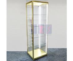 Color dorado juego de armario de tienda al por menor pantalla POS contadores de armario vitrina de cristal estantes