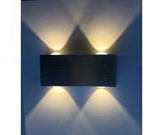 Louvra Apliques de Pared Lámpara de Pared en Moda de Puro Aluminio 4 LED 4W, Iluminación de Pasillo, Entrada, Dormitorio, Decoración Hogar, Blanco Cálido