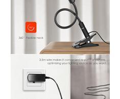 Lámpara de Escritorio teckin LED Lámpara con pinza (4 W, DIMM Bar Ojo Cuidado quickbuy24 – Lámparas con 3 brillo tufe, 360 ° flexible cuello de cisne Lectura Para Dormitorio Oficina (No recargable)