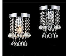 Goeco Lámpara del Techo Candelabro de cristal Luces de Techo LED inoxidable para la sala de estar, dormitorio, pasillo (diámetro 15.9cm, altura 22.8cm)