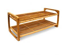 Relaxdays – Soporte para Pasteles (2 Pisos Zapatero/Zapatos Holder Solución De Almacenamiento Decorativo para 6 Pares de Zapatos de bambú, marrón, 75 x 33 x 33 cm