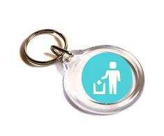 Poner la litera en su lugar Símbolo Emoji Llavero / Put Litter In Its Place Symbol Emoji Key Ring