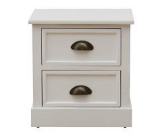 Rebecca Mobili Mesita de Noche Estilo clásico, Blanca, cómoda pequeña, 2 cajones, Madera, Cuarto de baño Dormitorio- Medidas: 45 x 37 x 27 cm (AxANxF) - Art. RE4556