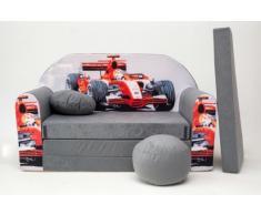 Pro Cosmo – A22 niños sofá cama futón con puff/reposapiés/almohada, tela, gris, 168 x 98 x 60 cm