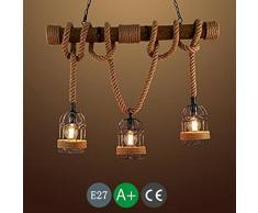 Retro Vintage Luz de Techo Luces de Cuerda Lámpara de Cuerda de Cáñamo Rústico Hierro Candelabro de Luz Colgante Ronda que cuelga Jaula de Hierro Lámpara Colgante Iluminación E27 Mesa de Comedor