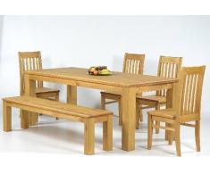 Juego de muebles de comedor (mesa de 140 x 90 cm, 4 sillas, 1 banco de 140 x 38 cm, madera de pino barnizada y encerada), color miel