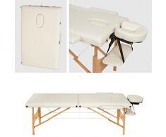 TecTake Camilla de masaje mesa de masaje banco 2 zonas plegable beige + bolsa