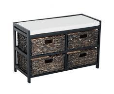 Homcom® Asiento banco asiento – Baúl de banco banco de piso acolchado con retención de cestos Madera
