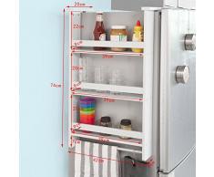 SoBuy® Especiero de pared en 3 niveles, Estantería para botes de especias, blanco, FRG150-W, ES
