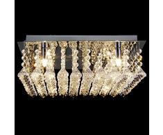 Lux.Pro Lámpara de Techo Cristal 40cm Candelabro Cromo 4xG9 Luz