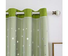 BLSTY Opacas Cortinas, Térmica Aislante Opaco Cortina Visillos Forro para Cuarto De Chicas Dormitorio Salón Ventanas Panel-Verde-140x240cm(55x94inch)