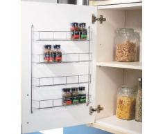 Especiero para armario puerta, 4 niveles, cromado