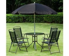 Outsunny 1571260031 - conjunto de muebles para jardin terraza o patio con 4 sillas 1 mesa y 1 parasol - textilene, aluminio y poliester