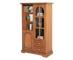 Vitrina elegante en madera, vitrina con puerta en vidrio, mueble de salón acabado cerezo