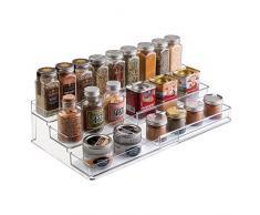 mDesign - Especiero expandible para gabinete de cocina; organiza especias, condimentos, alimentos enlatados - 3 niveles - Claro