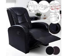 NOVA Sillón Relax con Respaldo y reposapiés reclinables de Piel sintética, Acolchado, Color a Elegir (marrón y Negro), sillón TV, reclinable