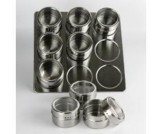 Especiero magnetico con 9 botes especies redondos metal