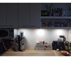 MEIKEE Lámpara de Muebles, Armario Vitrina Encimera, led Luz blanca en la vitrina Iluminación empotrada y accesorios incluidos (Set de 3)