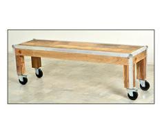 Sit-Möbel 2216-01 banco los plomos, mango de madera sin tratar, de color aluminio formación en ruedas de goma, tabla de asiento, 140 x 38 x 45 cm
