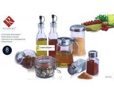 Renberg - Lote de 8 botellas y tarros para cocina (incluye aceitera y vinagrera, salero y pimentero, etc.)