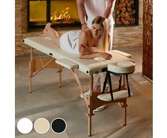 TecTake Camilla de masaje mesa de masaje banco 2 zonas plegable + bolsa - disponible en diferentes colores - (Blanco | No. 401464)