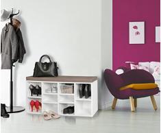 Wohnling Zapato Banco con Asiento Laura Blanco Piso Banco 103,5Â x 53Â x 30Â cm, Asiento Banco con estantes, Perchero Banco con Espacio