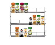 Yontree estantería de condimentos Rack Soporte de Especias con 3 Capas Color Plateado