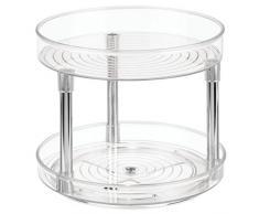 iDesign Plato giratorio para cocina, organizador de armarios con 2 pisos de plástico libre de BPA, especiero giratorio para guardar especias y latas en la despensa, transparente