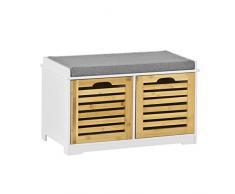 SoBuy Banco de Almacenamiento con Cojines y 2 Cubos de Entrada del Gabinete Dresser Zapato Cómodo Banco FSR23-K-WN, ES