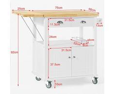 SoBuy® Mesa con ruedas de carro de almacenamiento del gabinete rodante servicio de cocina, Estantería de cocina, mesa de cocina, FKW19-WN,ES