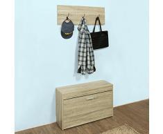 SoBuy® Armario zapatero con Perchero, Taburete, puff caja, banco, estantería para zapatos, FSR31-N, ES