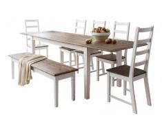 Conjunto de mesa de comedor extensible, 5 sillas y 1 banco, estilo canterbury, con 2 tablas de extensión