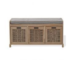 Mueble banco para beige con banco de 3 cajones en forma de cubo para madera entrada salón (Cod 0-1265)