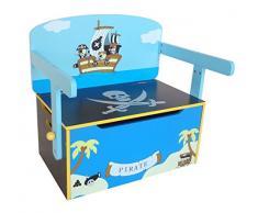 Kiddi Style Caja Almacenaje Juguetes + Banco y Mesa + Silla – Diseño Piratas - Convertible - Madera - par ninos